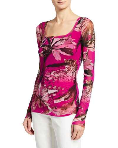 Tiger Print Long-Sleeve Square-Neck Top