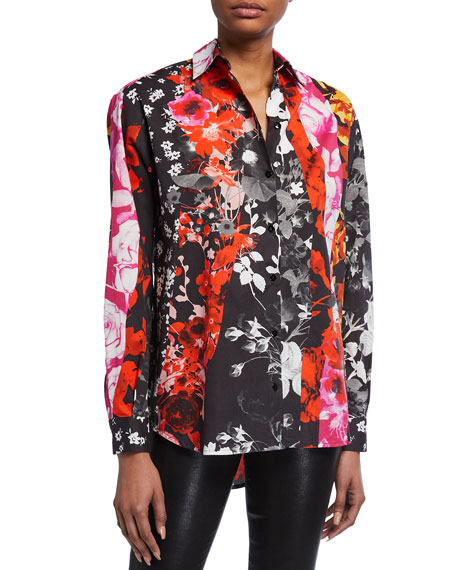 Fuzzi Patchwork Poplin Long-Sleeve Blouse