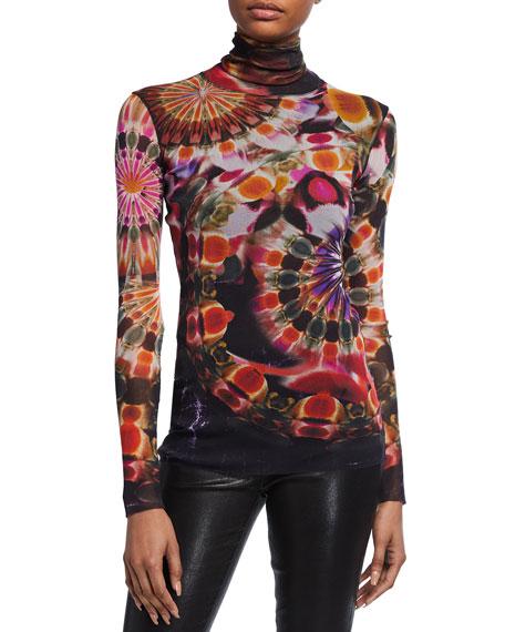 Fuzzi Chakra Print Turtleneck Long-Sleeve Top