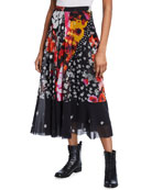 Fuzzi Patchwork Printed Midi Skirt