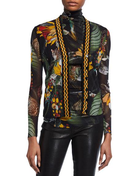 Fuzzi Tiger Print Button-Front Knit Trim Cardigan