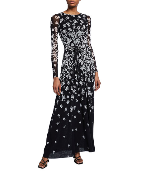 Fuzzi Floral Degrade Long-Sleeve Cocktail Dress