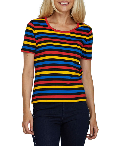 Joan Vass Multicolor Striped Short-Sleeve Tee