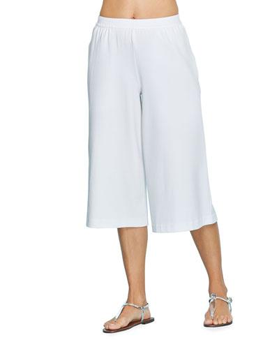 Stretch Interlock Cropped Wide-Leg Pants