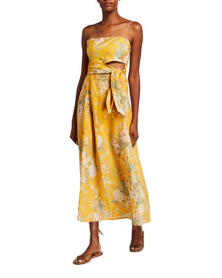 Zimmermann Amelie Linen Scarf-Tie Dress