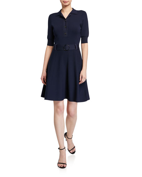 Shoshanna Edgemont Button-Front Elbow-Sleeve Dress