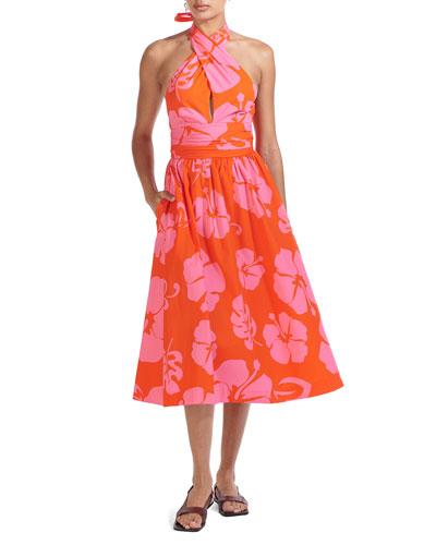 Moana Halter-Neck Poplin Midi Dress