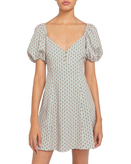 Alice + Olivia Printed Puff-Sleeve Fit-&-Flare Dress