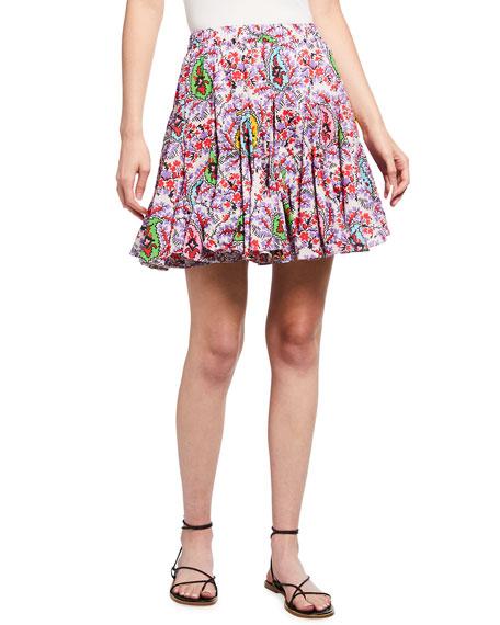 Rhode Hilary Paisley-Print Godet Mini Skirt