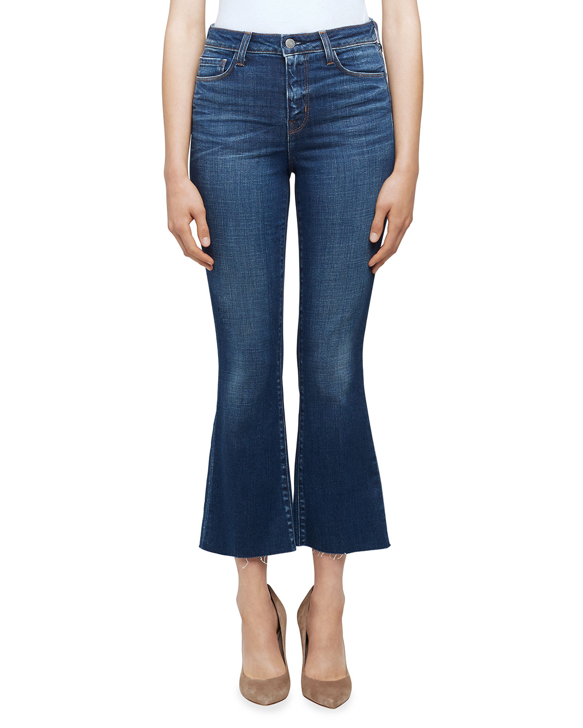Kendra High-Rise Crop Flare Jeans with Raw Hem