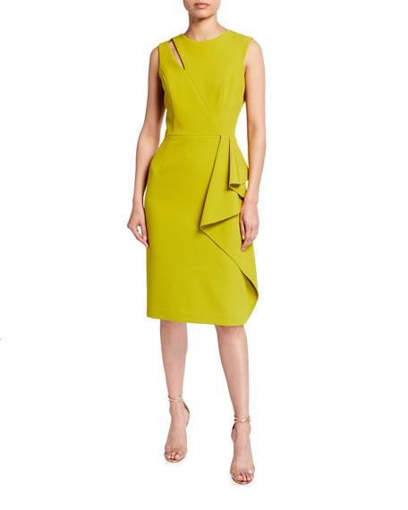 Rickie Freeman for Teri Jon Sleeveless Cutout Side-Drape Crepe Dress