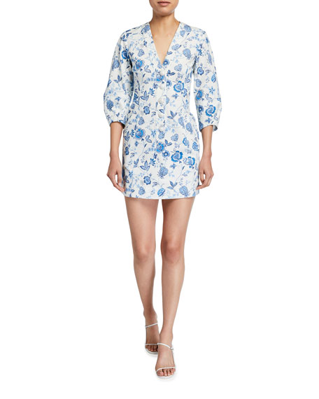 Derek Lam 10 Crosby Ottilie Floral Print 3/4-Sleeve Dress