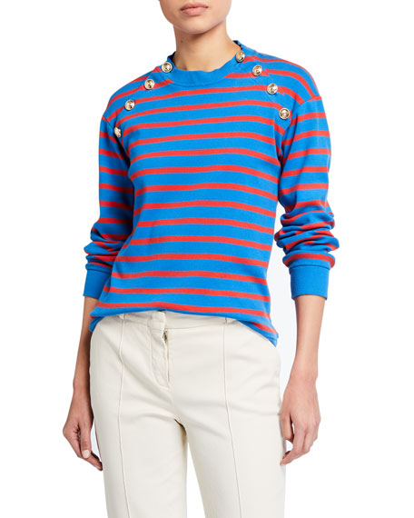 Derek Lam 10 Crosby Lucie Striped Sweatshirt with Sailor Buttons