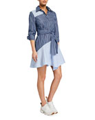 Derek Lam 10 Crosby Flora Asymmetric Striped Shirtdress