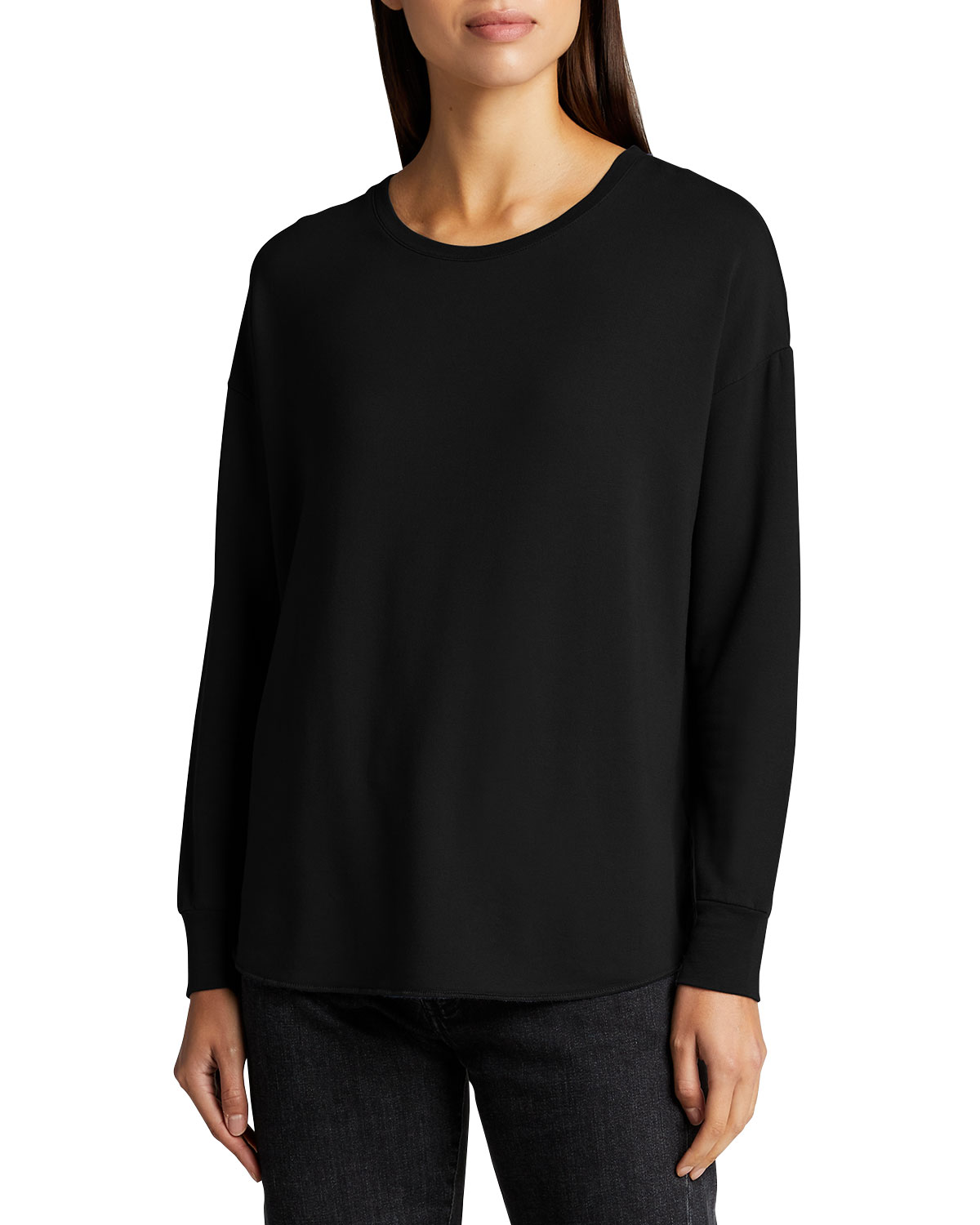 Majestic LONG-SLEEVE FRENCH TERRY SEMI-RELAXED TOP