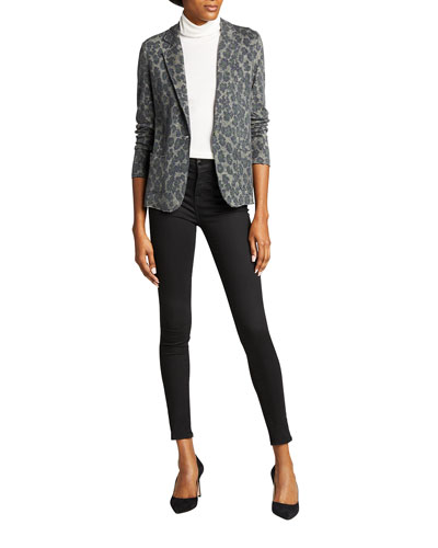 Leopard Novelty One-Button Blazer