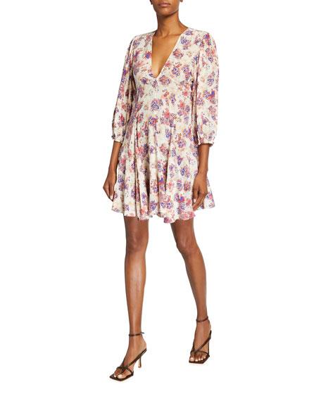 Iro Gallery Floral V-Neck Short Dress