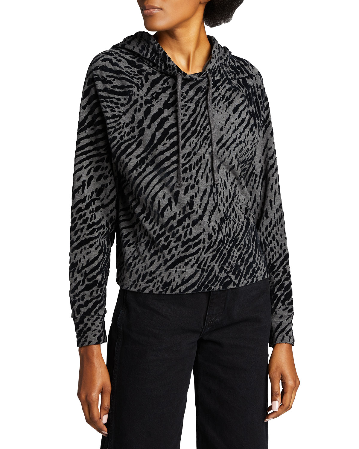 Majestic LEOPARD-PRINT FRENCH TERRY NOVELTY HOODIE