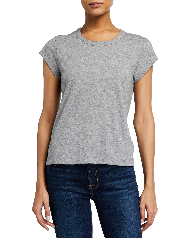 Joie Delzia Crewneck Short-sleeve Pima Cotton Tee In Heather Grey