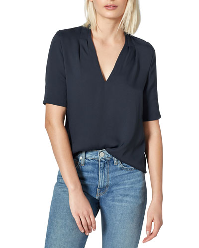 Ance Short-Sleeve Silk Top