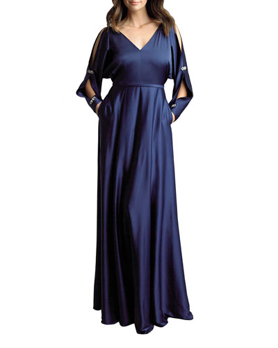 Rhinestone Embellished Split-Sleeve Satin Gown