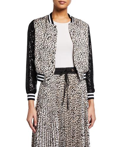 Leopard-Print Sequin Bomber Jacket