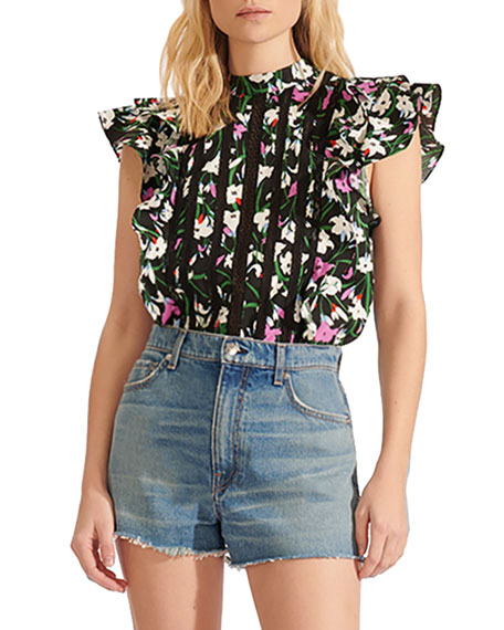 Veronica Beard Sol Printed Lace Ruffle Top