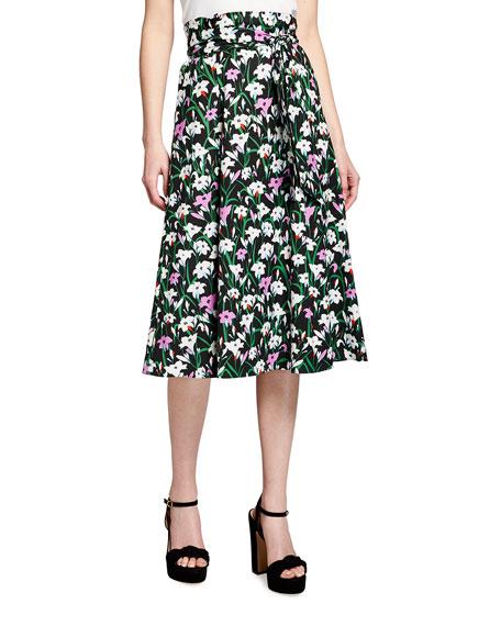 Veronica Beard Avi Floral-Print Midi Skirt