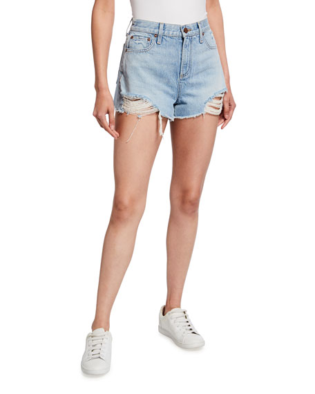 ALICE + OLIVIA JEANS Amazing High-Rise Shredded Denim Shorts