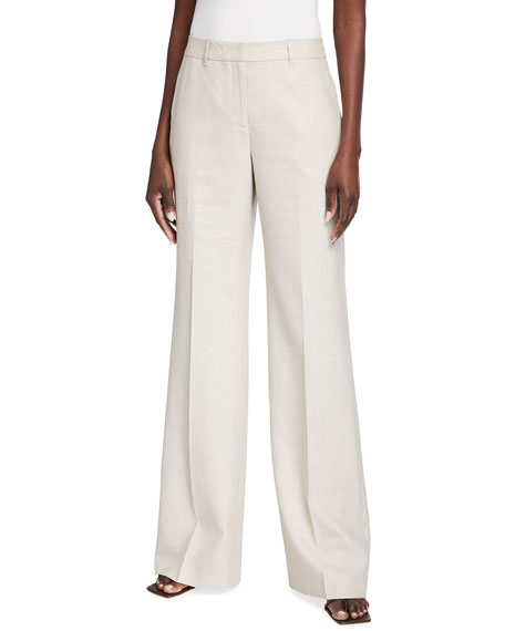 Lafayette 148 New York Dalton Wide-Leg Italian Weave Pants