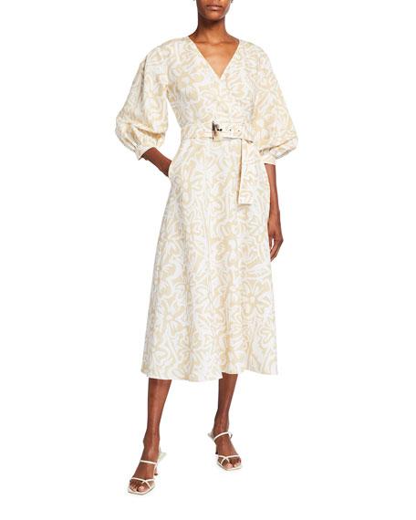 Lafayette 148 New York Joanna Light Garden Print Midi Dress