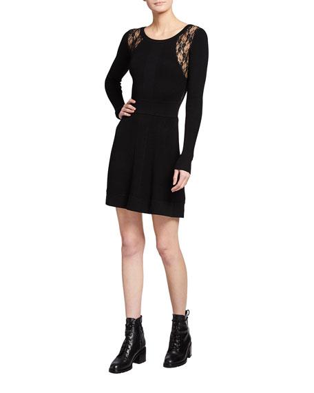 PINKO Somalia Lace-Inset Long-Sleeve Dress