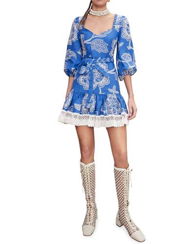 Claribel Puff-Sleeve Dress