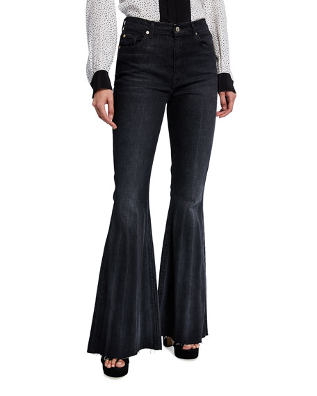 7 for all mankind Pleated Mega Flare High-Rise Jeans