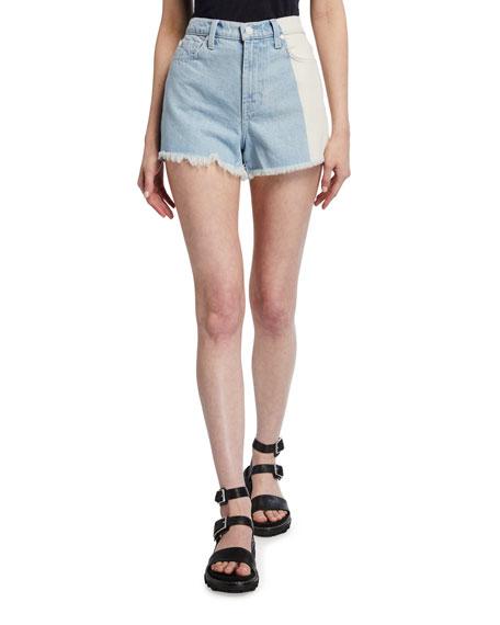7 for all mankind High-Waist Two-Tone Denim Shorts w/ Frayed Hem