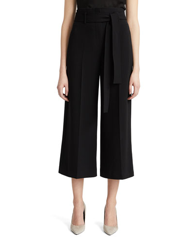 Belted Crepe Cropped Pants