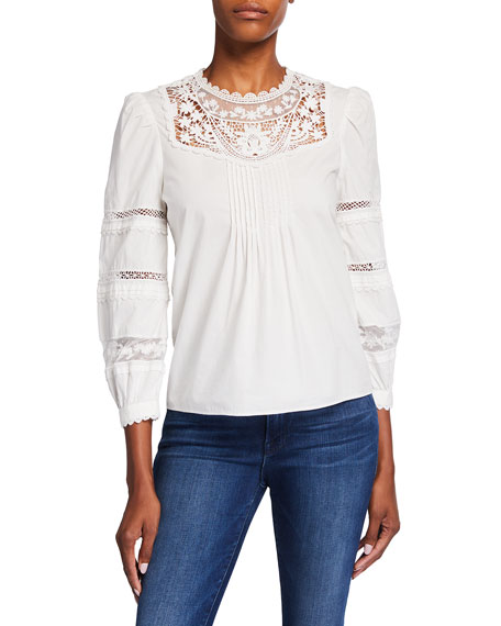 Veronica Beard Bessie Crochet Lace Inset Top