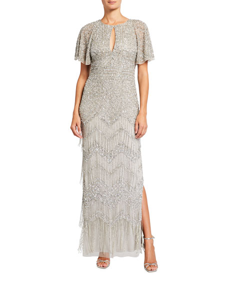 Aidan Mattox Beaded Fringe Keyhole Gown with Beaded Cape