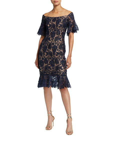 Jovani Off-the-Shoulder Bell-Sleeve Lace Flounce Dress