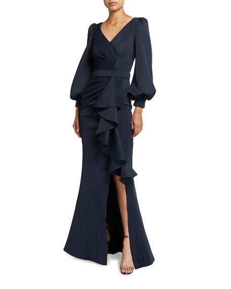 Jovani V-Neck Blouson-Sleeve Draped Ruffle Front Gown