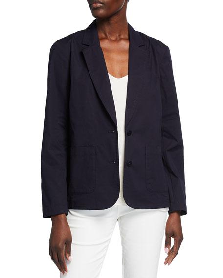 Eileen Fisher Organic Stretch Cotton Poplin Notch Collar Jacket