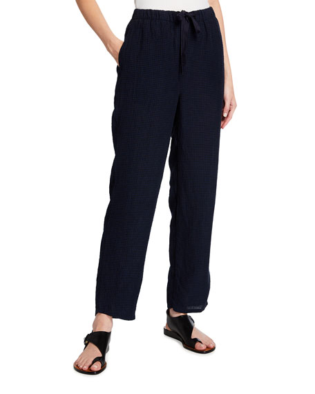 Eileen Fisher Petite Puckered Organic Linen Tapered Ankle Pants
