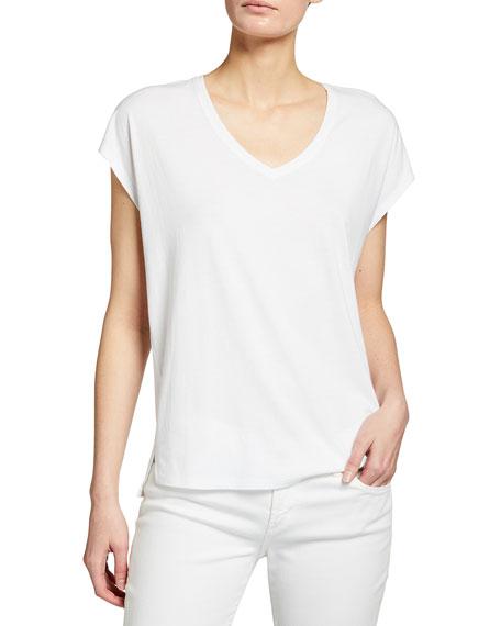Eileen Fisher V-Neck Cap-Sleeve Organic Cotton Jersey Top