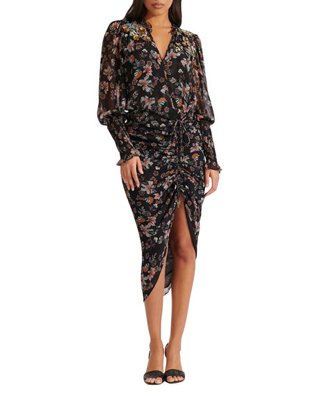 Veronica Beard Shaia Floral Ruched Dress
