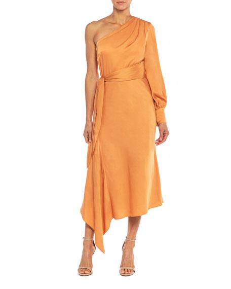 Santorelli Varga One-Shoulder Asymmetrical Satin Dress