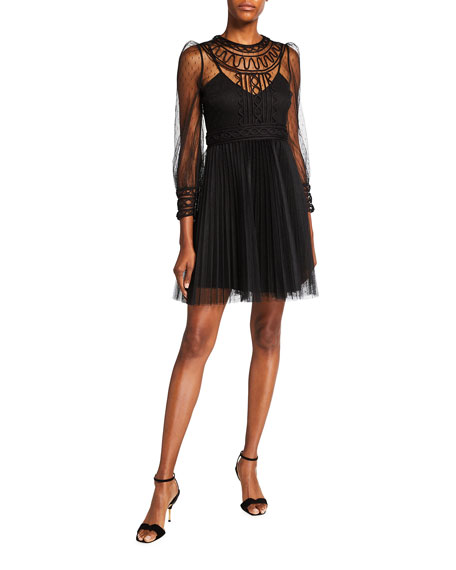 REDValentino Georgette & Point d'Esprit Tulle Illusion Dress