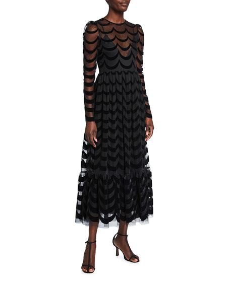 REDValentino Mesh Lace Midi Dress
