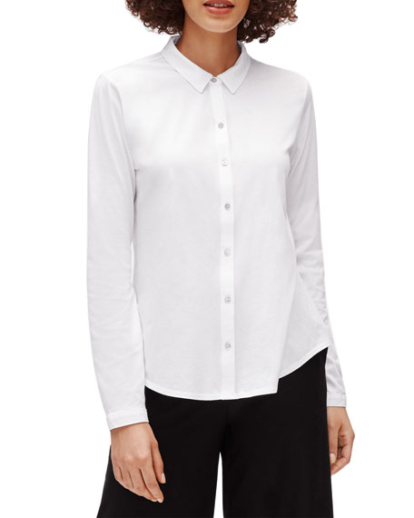 Petite Organic Cotton Jersey Collared Shirt