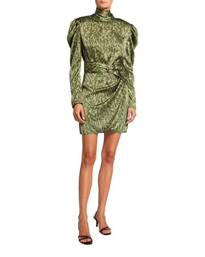 Noelle Khaki Puff-Sleeve Mini Turtleneck Dress