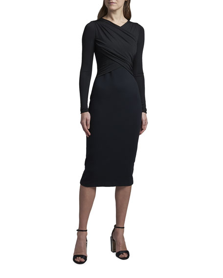 Giorgio Armani Matte Jersey Cross-Front Dress